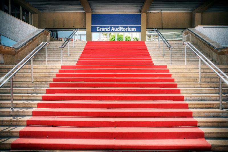 The famous red carpet at the Grand Auditorium in Cannes, France.