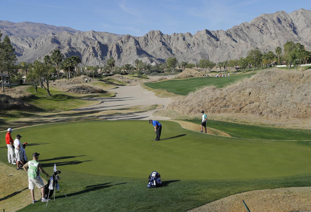 Patrick Reed putts on the 12th green during the third round of the Humana Challenge PGA golf tournament on the Nicklaus Private course at PGA West, Saturday, Jan. 18, 2014, in La Quinta, Calif. (AP Photo/Matt York)