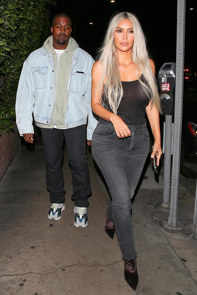 "<p>Kim and Kanye had a date night in Santa Monica. The reality star stayed mum when asked about her booming family. Kimye's surrogate is reportedly pregnant, as are sisters <a href=""https://www.yahoo.com/celebrity/khloe-kardashian-pregnant-expecting-first-child-tristan-thompson-232038378.html"" data-ylk=""slk:Kylie;outcm:mb_qualified_link;_E:mb_qualified_link"" class=""link rapid-noclick-resp newsroom-embed-article"">Kylie</a> and <a href=""https://www.yahoo.com/beauty/khloe-kardashians-journey-motherhood-225228169.html"" data-ylk=""slk:Khloé;outcm:mb_qualified_link;_E:mb_qualified_link"" class=""link rapid-noclick-resp newsroom-embed-article"">Khloé</a>. <em>Keeping Up With the Kardashians</em>, indeed. (Photo: Maciel/Backgrid) </p>"