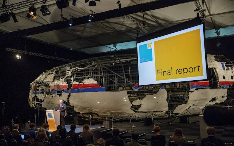 The Dutch Safety Board presents findings in 2015 that Malaysia Airlines flight MH17 was destroyed by a Russian-made Buk missile. - Reuters