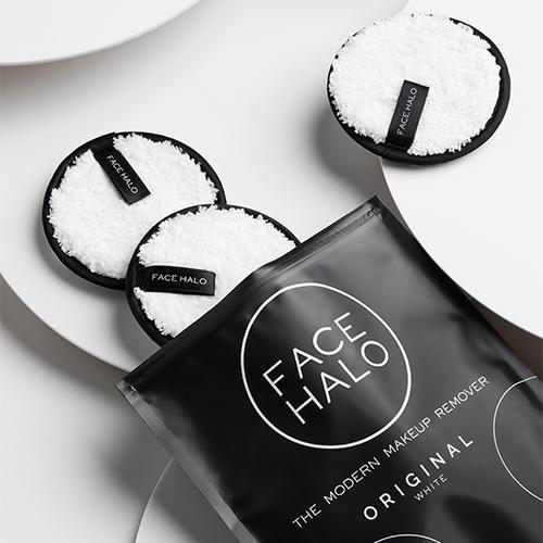 """<p><strong>Face Halo</strong></p><p>facehalo.com</p><p><strong>$16.00</strong></p><p><a href=""""https://facehalo.com/products/face-halo-pack-of-3?variant=39336722380¤cy=USD&gclid=Cj0KCQjw9_mDBhCGARIsAN3PaFPCgT73s5832jv3clpJ3fjvDnADSeQlexHZZdnbL27F2GOcLihOXAAaAttuEALw_wcB"""" rel=""""nofollow noopener"""" target=""""_blank"""" data-ylk=""""slk:Shop Now"""" class=""""link rapid-noclick-resp"""">Shop Now</a></p><p>""""My goal is to rid of all single-use items in my home so these reusable non-toxic rounds gently remove all my makeup without pulling on my skin while also helping me reduce my carbon footprint.""""</p>"""