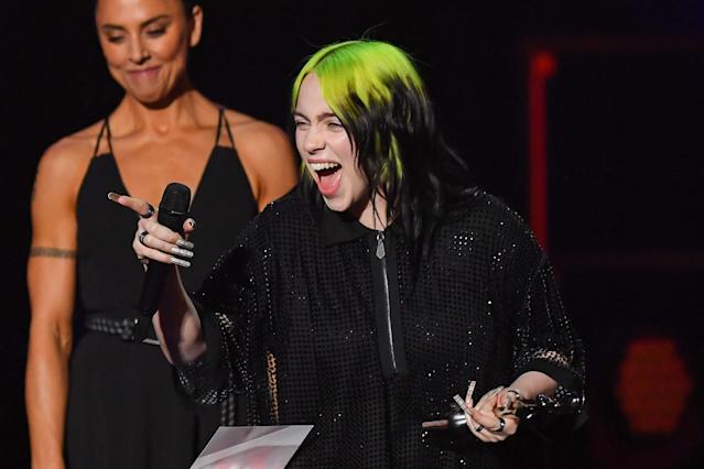Billie Eilish accepts the International Female Solo Artist gong at this year's Brit Awards (Getty)