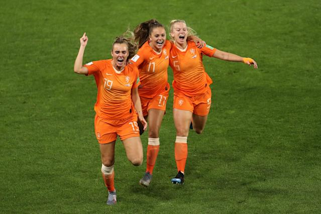 Lieke Martens of the Netherlands celebrates with teammates after scoring her team's second goal during the 2019 FIFA Women's World Cup France Round Of 16 match between Netherlands and Japan at Roazhon Park on June 25, 2019 in Rennes, France. (Photo by Maja Hitij/Getty Images)