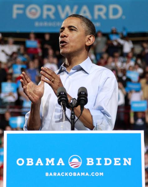 President Barack Obama speaks during a campaign rally at The Ohio State University, Saturday, May 5, 2012 in Columbus, Ohio. (AP Photo/Haraz N. Ghanbari)