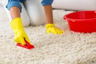 """If you've dropped red wine on your cream-colored rug, there's no need to panic—a bit of hydrogen peroxide should take it out in no time. """"Just pour through the fabric and rinse and repeat until the stain disappears,"""" says Dimmick. Pro tip: Make sure to try it out on an inconspicuous part of the carpet first to test for colorfastness before applying it to a larger area."""