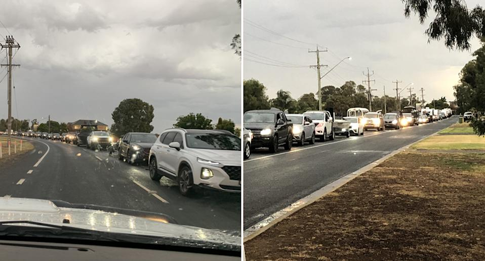 Two photos of cars lined up to cross the border into Victoria from Mulwala in NSW.