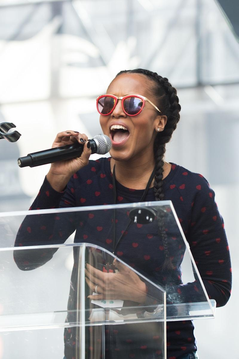 Kerry Washington speaks onstage at the women's march in Los Angeles, California.