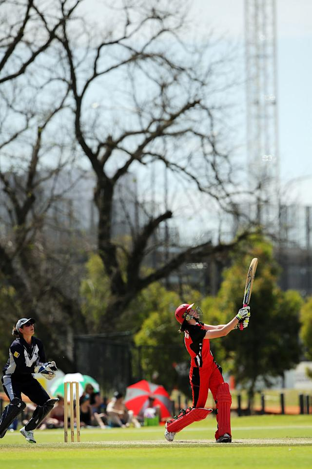 Beth Morgan of the Scorpions bats during the WNCL match between South Australia and Victoria at Park 25 on October 20, 2013 in Adelaide, Australia.  (Photo by Daniel Kalisz/Getty Images)