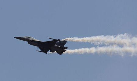 A Pakistani F-16 fighter jet flies during Pakistan Day military parade in Islamabad