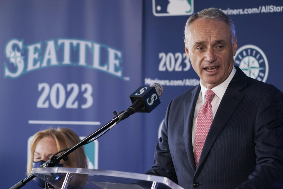 Baseball Commissioner Rob Manfred speaks during a news conference Thursday, Sept. 16, 2021, at the Space Needle in Seattle. Manfred announced that the Seattle Mariners will host the 2023 All-Star Game at T-Mobile Park. (AP Photo/Ted S. Warren)