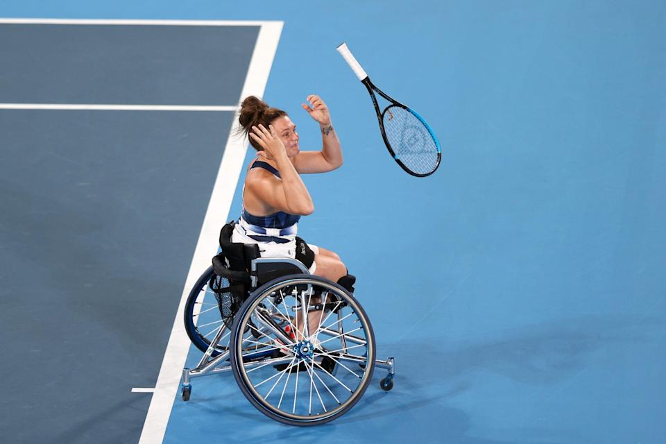 Wheelchair tennis star Jordanne Whiley of Team Great Britain reacts to winning a bronze medal at the Tokyo Paralympics.