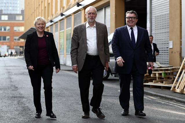 Tom Watson pictured with MP Angela Eagle MP and Labour leader, Jeremy Corbyn in June 2016. [Photo: Getty]