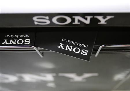 Logos of Sony Corp. are seen at an electronics store in Tokyo