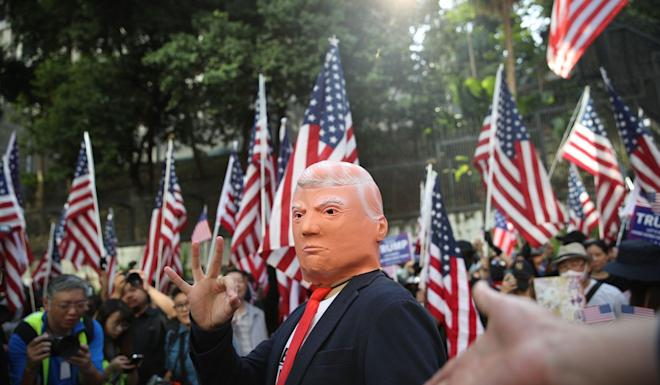 A Donald Trump impersonator at a gathering in Hong Kong on December 1, when anti-government activists thanked the US for its legislation targeting the city. Photo: Winson Wong