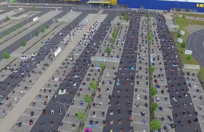 A closed IKEA store in Frankfurt was converted into a socially-distant celebration of the Muslim holiday Eid al-Fitr.