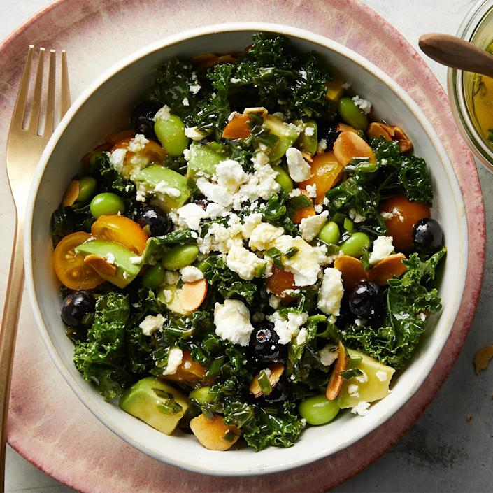 <p>Bursting with nutrient-rich produce, this California-inspired salad is a delicious and satisfying way to get your vitamins. We love the unique combination of blueberries, edamame, and goat cheese.</p>