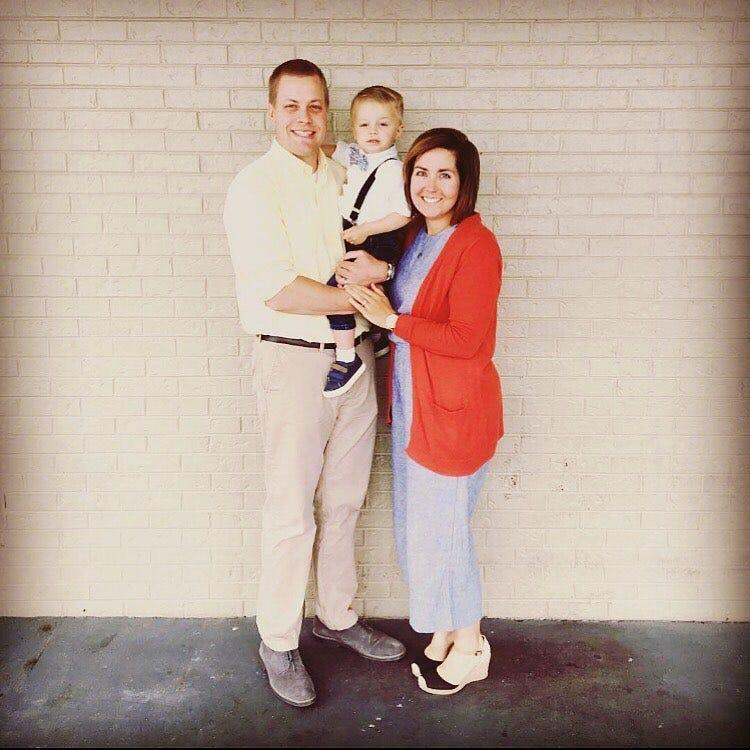 Matt Cahoon, assistant athletic trainer at Carson-Newman University, poses for a photo with wife Sierra and son Nolan. Sierra and Nolan Cahoon were killed when they were struck by a motorist in Jefferson City on June 17, 2019.