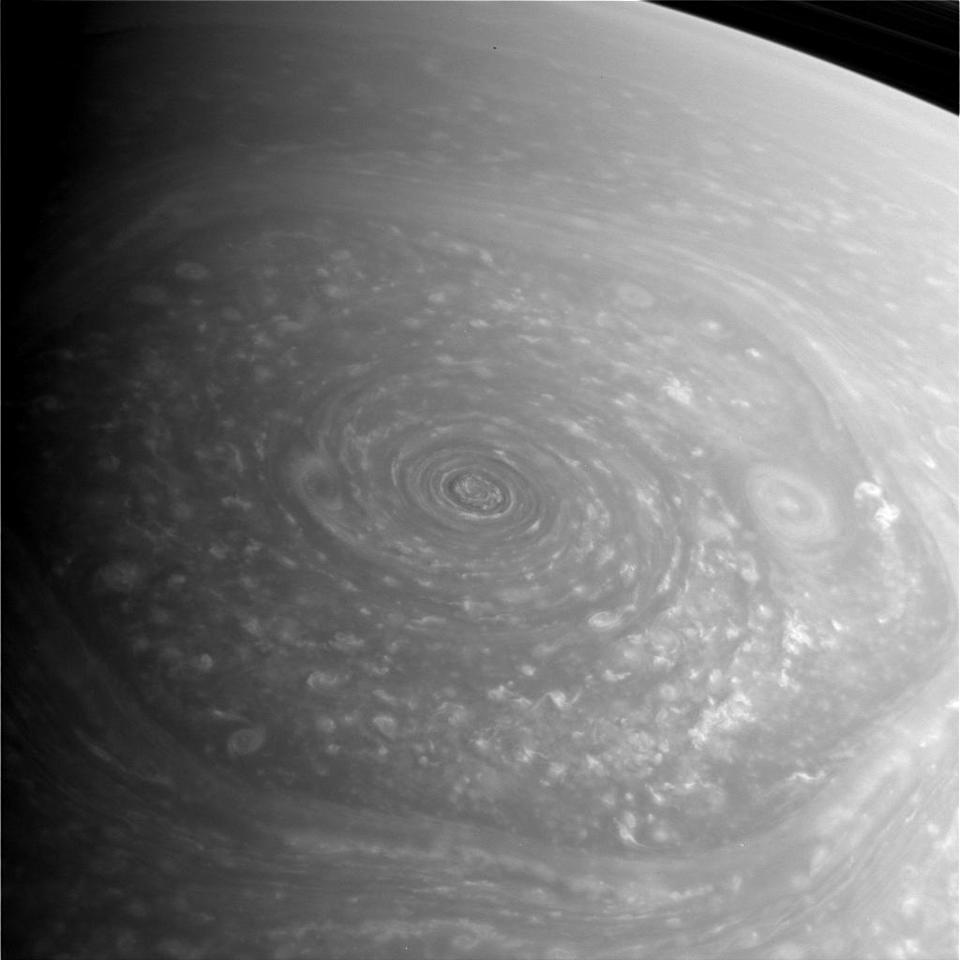 Saturn's mysterious northern vortex, a vast hexagon-shaped storm, dominates this photo taken Nov. 27, 2012, by NASA's Cassini spacecraft. This image is a raw and unprocessed view. (NASA/JPL-Caltech/Space Science Institute)