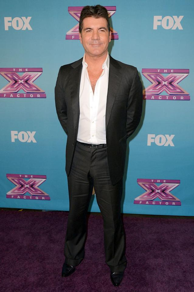 "Simon Cowell arrives  at Fox's ""The X Factor"" Season Finale Night 1 at CBS Televison City on December 19, 2012 in Los Angeles, California."
