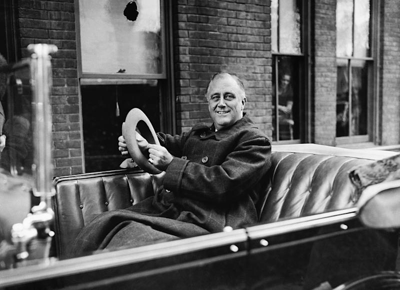 New York Gov. Franklin D. Roosevelt starting on a campaign speaking tour in Albany, New York, on Oct. 29, 1932.