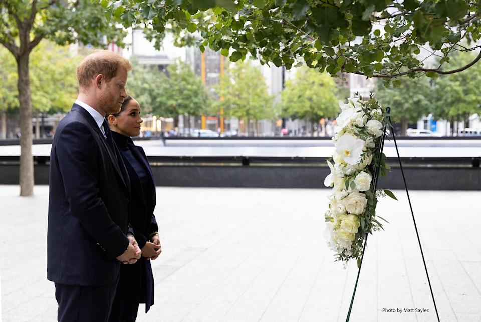 <p>Harry and Meghan also stopped at the 9/11 memorial outside, viewing a wreath on display just 12 days after the 20th anniversary of the terrorist attacks.</p>