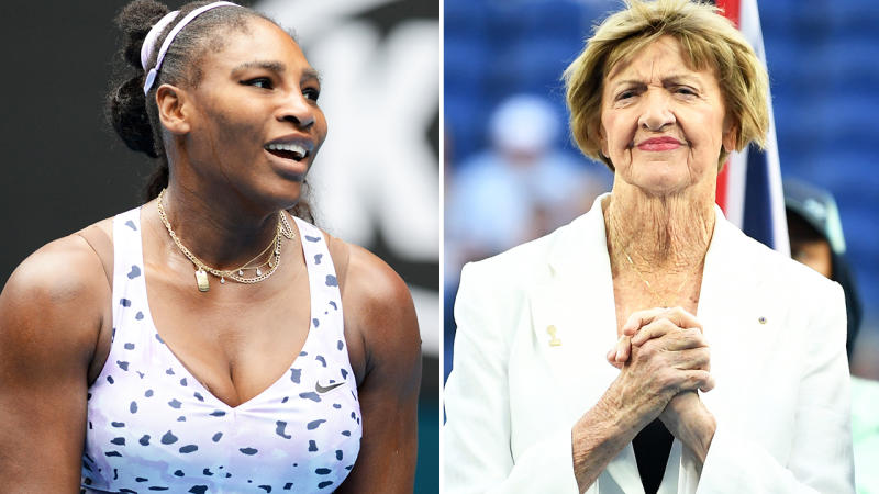 Serena Williams and Margaret Court, pictured here at the Australian Open in January.