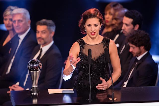 """<a class=""""link rapid-noclick-resp"""" href=""""/olympics/rio-2016/a/1124307/"""" data-ylk=""""slk:Carli Lloyd"""">Carli Lloyd</a> is a finalist for The Best FIFA women's Player of 2017, partially because of the laziness of voters. (Getty)"""