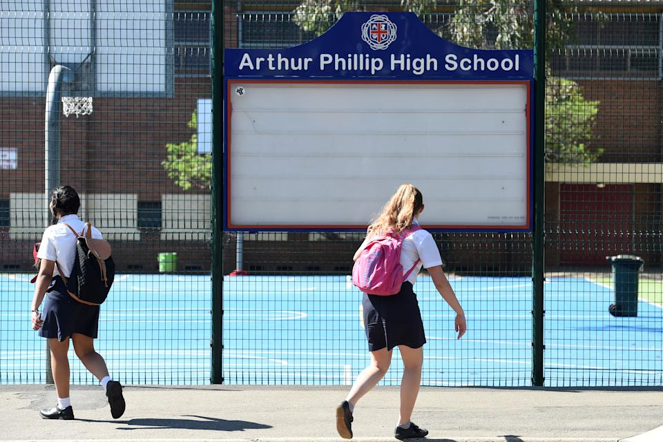 Students of Arthur Phillip High School depart from the grounds in Sydney in 2015. Source: AAP