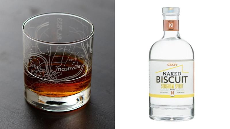 The Tennessean / Reviewed 2019 gift guide: Nashville Craft Naked Biscuit Sorghum Spirits and Urban Map Glass