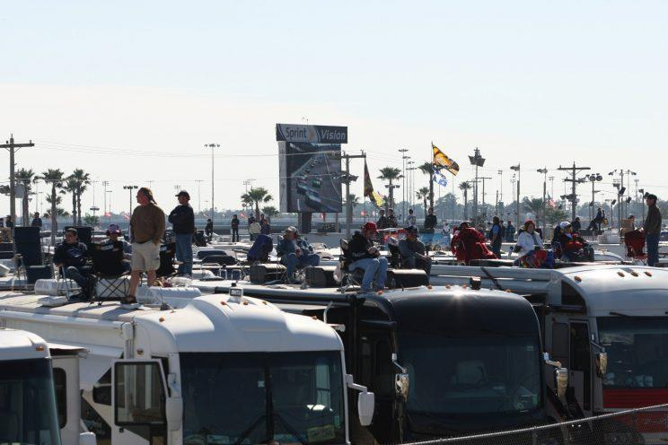 The infield at Daytona International Speedway is full of RVs for the taking. (Getty Images)
