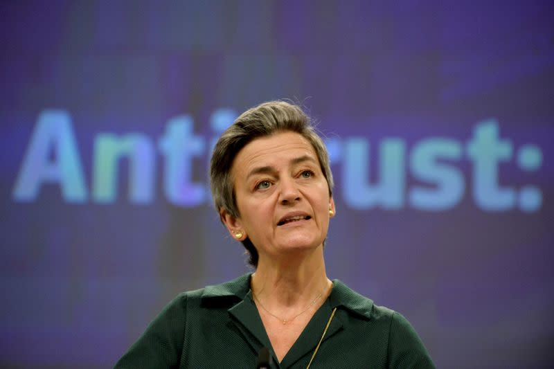 FILE PHOTO: EU antitrust chief Margrethe Vestager gives a news conference on antitrust case at European Commission in Brussels