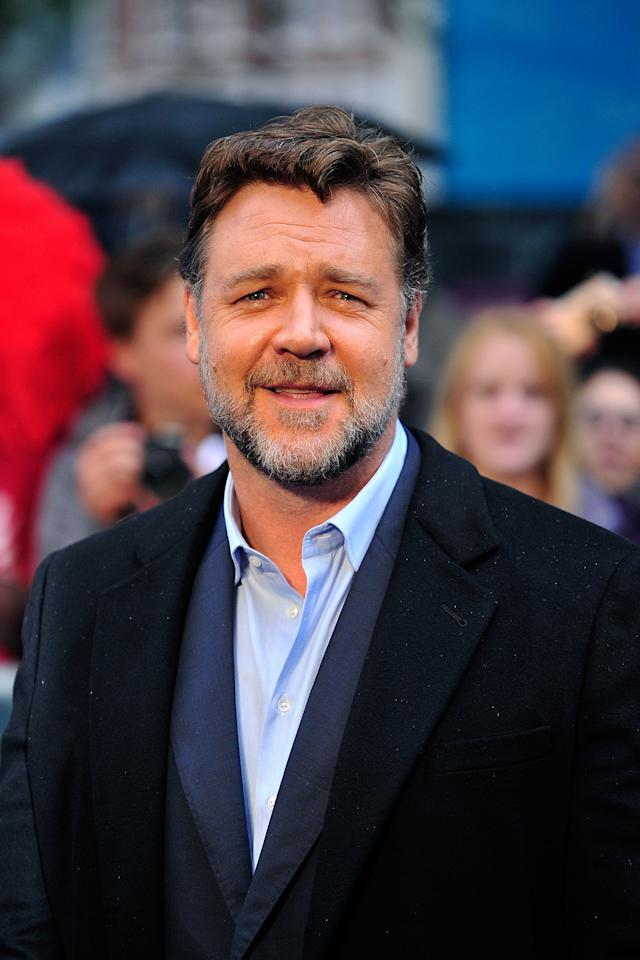 LONDON, ENGLAND - JUNE 12:  Russell Crowe attends the UK Premiere of 'Man of Steel' at Odeon Leicester Square on June 12, 2013 in London, England.  (Photo by Gareth Cattermole/Getty Images)