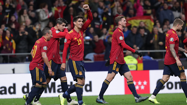 Gerard Moreno scored two and Fabian Ruiz got his first international goal as Spain thrashed sorry Romania in their last Euro 2020 qualifier.