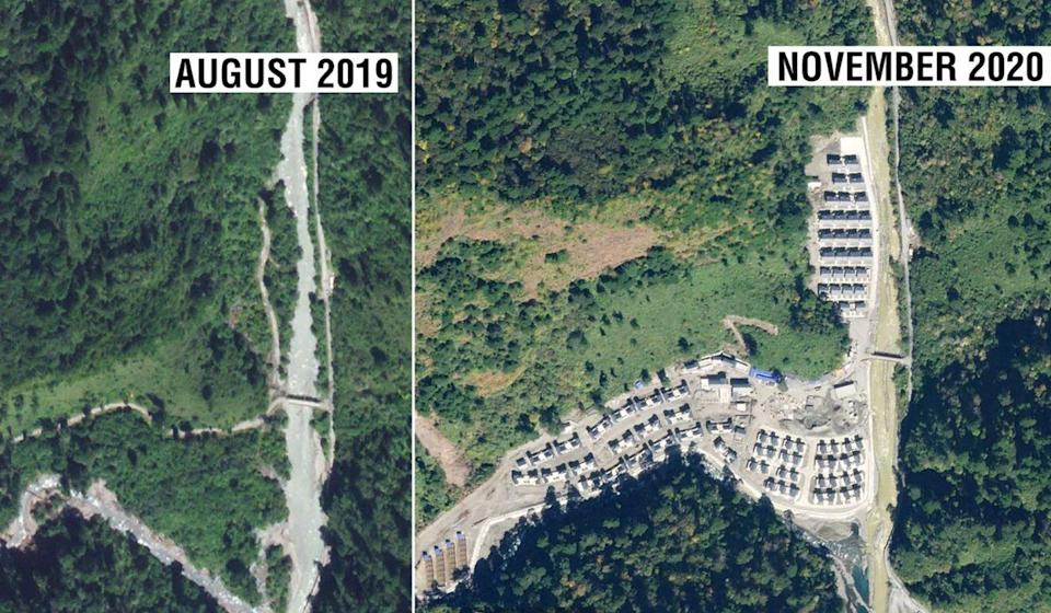 It is not known exactly when the houses were built, but satellite images of the same area taken in August 2019 show it to be grassland. Photo: Twitter