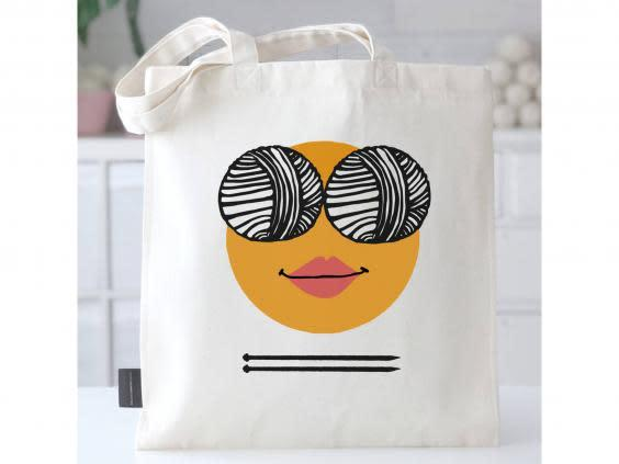 A sturdy canvas tote bag is great for not just for storing knitting bits and bobs, but for weekly food shops too (Not On The High Street)