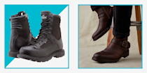"""<p>Fashion often takes its cues from gear that truly serves a function. Just think about combat boots and <a href=""""https://www.menshealth.com/style/g19540212/work-boots-for-men/"""" rel=""""nofollow noopener"""" target=""""_blank"""" data-ylk=""""slk:workwear"""" class=""""link rapid-noclick-resp"""">workwear</a>. They started as something meant for durability but eventually bled into the realm of street style, where the function is appreciated but nonessential. Motorcycle boots in particular dominate this realm—they provide stability and protection out on the road but also inspire an entire subset of <a href=""""https://www.menshealth.com/style/g37095236/best-rain-boots-for-men/"""" rel=""""nofollow noopener"""" target=""""_blank"""" data-ylk=""""slk:footwear"""" class=""""link rapid-noclick-resp"""">footwear</a> that doesn't require <a href=""""https://www.menshealth.com/technology-gear/a36329845/2021-harley-davidson-pan-america-review/"""" rel=""""nofollow noopener"""" target=""""_blank"""" data-ylk=""""slk:a bike"""" class=""""link rapid-noclick-resp"""">a bike</a>. </p><p>When looking for your own motorcycle boots, you want to keep security and durability top of mind—a shoe that protects your heels and toes, and one that can withstand any contact with pavement or jagged parts of your bike. Now is not the time for something precious; the best motorcycle boots are crafted specifically to be worn on a bike, which means protection against concrete, mud and rough terrains. For cruising and touring motorcycle boots, look to brands like <a href=""""https://www.menshealth.com/technology-gear/a34511759/harley-davidson-serial-1-cycle-company-e-bikes/"""" rel=""""nofollow noopener"""" target=""""_blank"""" data-ylk=""""slk:Harley-Davidson"""" class=""""link rapid-noclick-resp"""">Harley-Davidson</a>, Belstaff, and Aether. For something a bit more moto-<em>inspired</em>, look to Frye, Doc Martens, and Red Wing. Whether you're looking for something technical or more stylish, we've rounded up the best ones to shop here. <br></p>"""