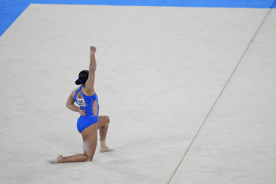 Luciana Alvarado, of Costa Rica, performs her floor exercise routine during the women's artistic gymnastic qualifications at the 2020 Summer Olympics, Sunday, July 25, 2021, in Tokyo. (AP Photo/Natacha Pisarenko)