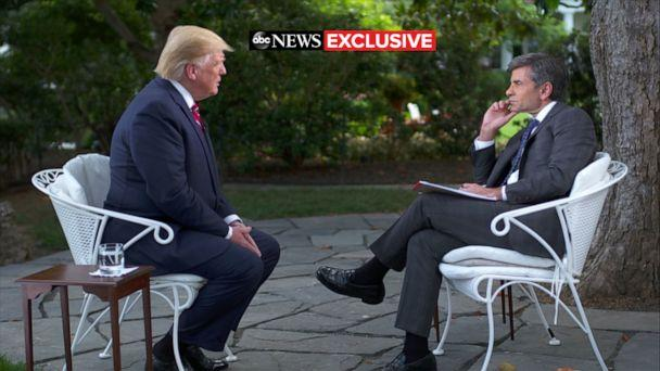 PHOTO: ABC News' George Stephanopoulos talks with President Donald Trump at the White House in Washington, June 12, 2019. (ABC News)