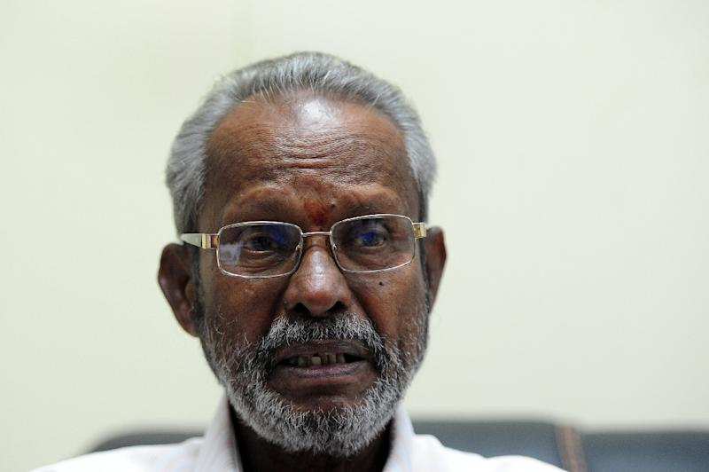 Chairman of the Northern Provincial Council (NPC) C. V. K. Sivagnanam speaks to an AFP reporter on the Jaffna peninsula (AFP Photo/Lakruwan Wanniarachchi)