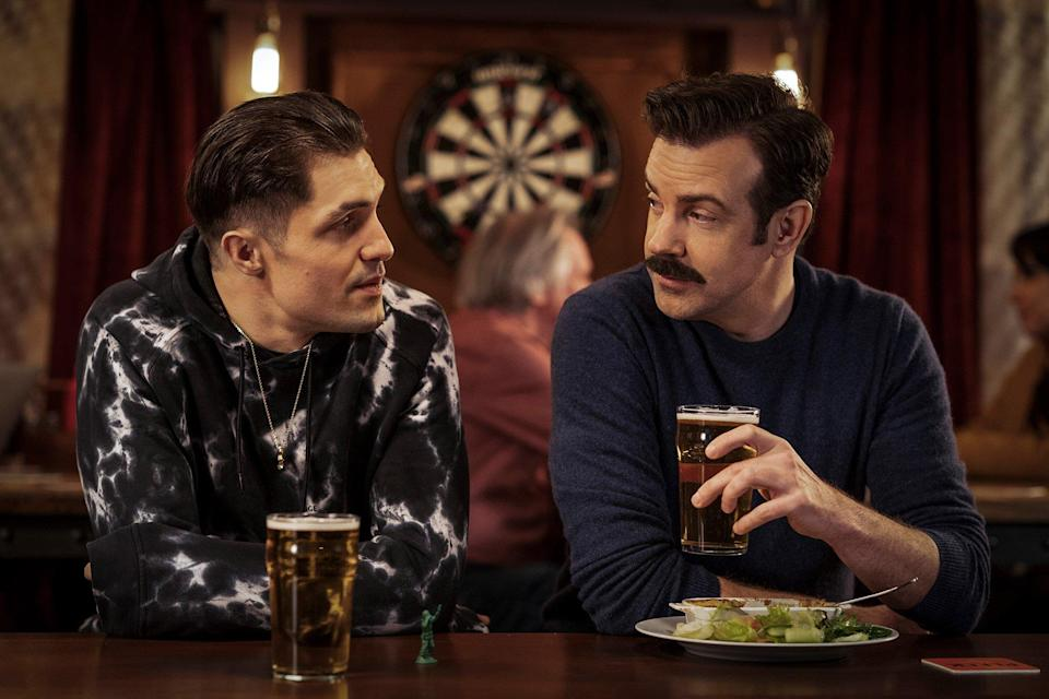 """Phil Dunster and Jason Sudeikis in """"Ted Lasso"""" season two, now streaming on Apple TV+"""