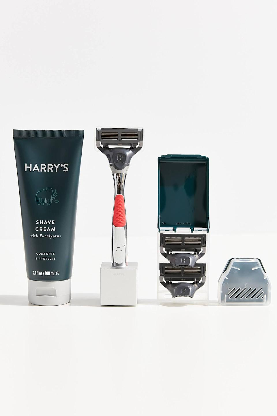 <p>The guy in your life will appreciate this <span>Harry's Holiday Shave Gift Set</span> ($49).</p>