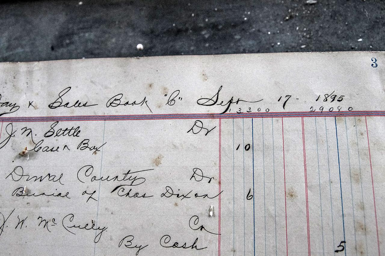 <p>Some of the notes found in the abandoned funeral home in Jacksonville, Fla., dating back to 1895. (Photo: Abandoned Southeast/Caters News) </p>