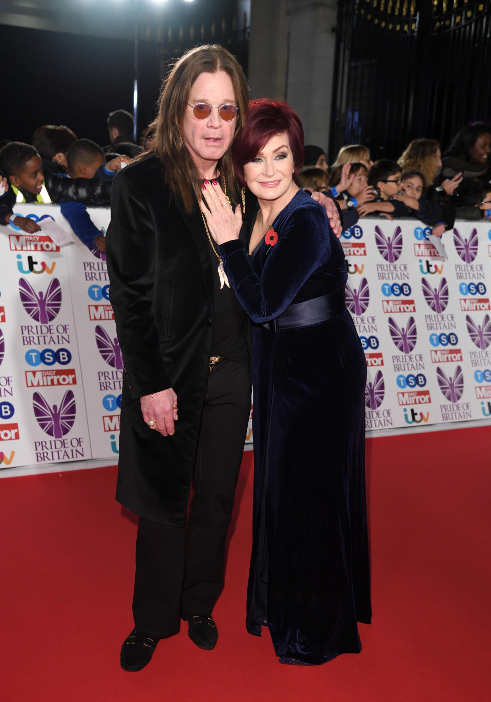 LONDON, ENGLAND - OCTOBER 30:  Ozzy Osbourne and Sharon Osbourne attend the Pride Of Britain Awards at the Grosvenor House on October 30, 2017 in London, England.  (Photo by Karwai Tang/WireImage)