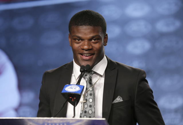 Louisville's Lamar Jackson answers a question during ACC media days on July 13. (AP)