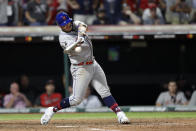 National League's Pete Alonso, of the New York Mets, hits a two run single during the eighth inning of the MLB baseball All-Star Game against the American League, Tuesday, July 9, 2019, in Cleveland. (AP Photo/Tony Dejak)