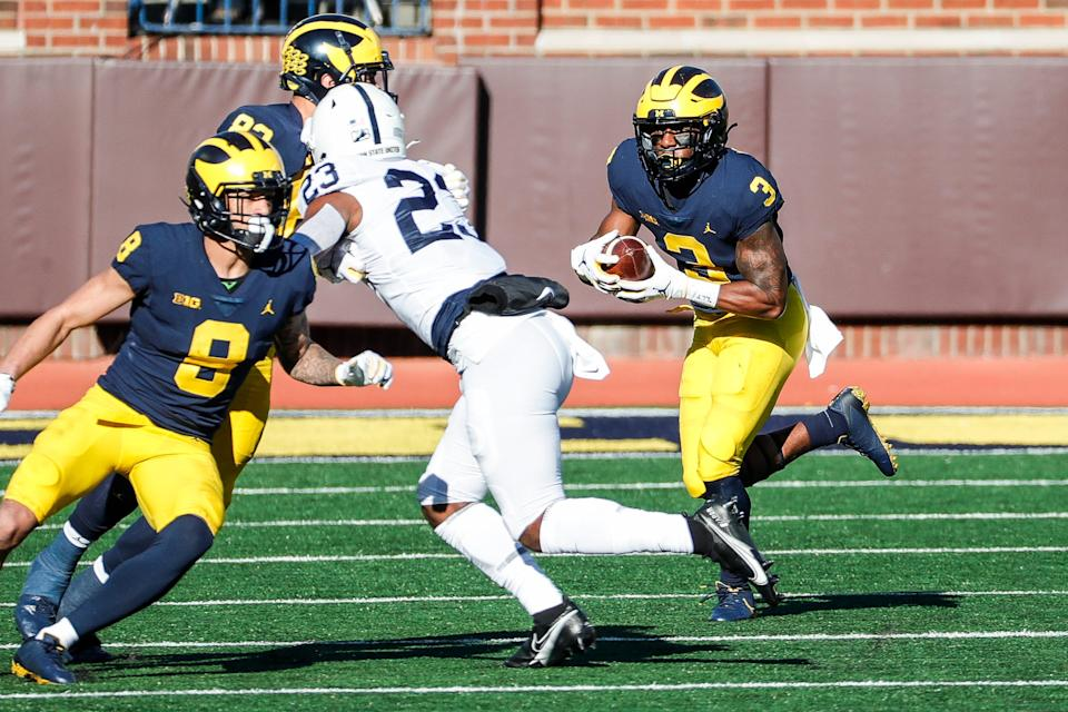 Michigan wide receiver A.J. Henning runs against Penn State during the first half at Michigan Stadium in Ann Arbor, Saturday, Nov. 28, 2020.