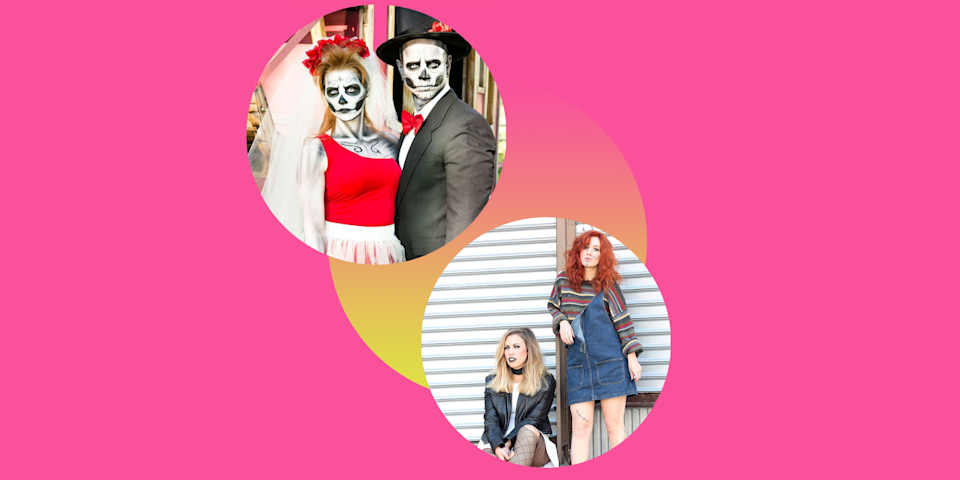 """<p>Your relationship is anything but scary, which makes it all the more fun to dress up as something terrifying on Halloween. Switch things up this year by going to the dark side with one of these scary couples costumes. Together, you and your partner (or best friend, even) will scare party-goers and trick-or-treaters alike in these fright-filled ensembles. Choose between recognizable characters from <a href=""""https://www.goodhousekeeping.com/life/entertainment/g28067867/best-horror-movies-on-netflix/"""" rel=""""nofollow noopener"""" target=""""_blank"""" data-ylk=""""slk:horror movies"""" class=""""link rapid-noclick-resp"""">horror movies</a> (Chucky and his bride), TV's most terrifying duos (Twisty and Weeping Nun from <em>American Horror Story</em>), or classic costume ideas (skeleton bride and groom). You can choose whether or not you want to <a href=""""https://www.goodhousekeeping.com/holidays/halloween-ideas/g2750/easy-last-minute-halloween-costumes-diy/"""" rel=""""nofollow noopener"""" target=""""_blank"""" data-ylk=""""slk:DIY your own looks"""" class=""""link rapid-noclick-resp"""">DIY your own looks</a>, take the store-bought approach, or go for a mix-and-match with ready-made costumes and <a href=""""https://www.goodhousekeeping.com/holidays/halloween-ideas/g2599/halloween-costumes-with-makeup-ideas/"""" rel=""""nofollow noopener"""" target=""""_blank"""" data-ylk=""""slk:Halloween makeup"""" class=""""link rapid-noclick-resp"""">Halloween makeup</a>. As a general rule, the creepier the look, the better it'll be, especially if you're hoping to win <a href=""""https://www.goodhousekeeping.com/holidays/halloween-ideas/g2625/halloween-costumes-for-couples/"""" rel=""""nofollow noopener"""" target=""""_blank"""" data-ylk=""""slk:#1 couple's costume"""" class=""""link rapid-noclick-resp"""">#1 couple's costume </a>at this year's Halloween party. Just scroll through this list to find your winning look because all of these scary costume ideas are killer — in a good way. </p>"""