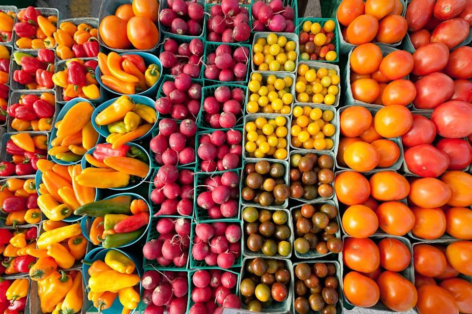 Some of the produce available at the Coral Gables Farmers Market at the intersection of LeJeune Road and Biltmore Way.