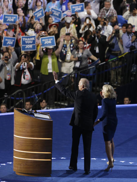 Vice President Joe Biden and his wife Jill wave to delegates after his speech at the Democratic National Convention in Charlotte, N.C., on Thursday, Sept. 6, 2012. (AP Photo/Lynne Sladky)
