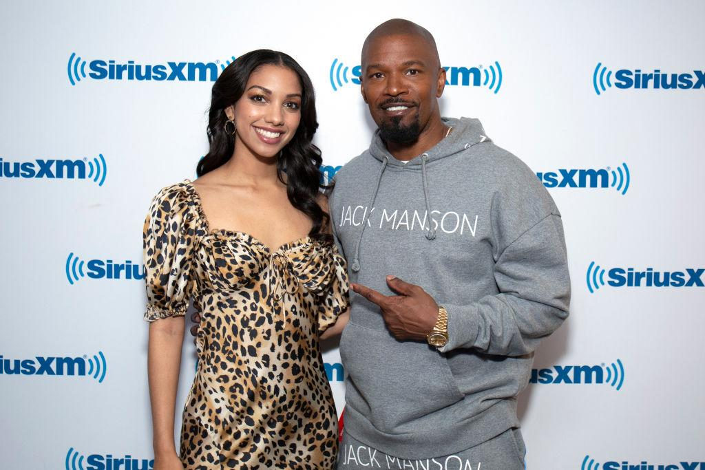 Corinne Foxx and father Jamie Foxx visit SiriusXM Studios on May 14 in New York City. (Photo: Santiago Felipe/Getty Images)